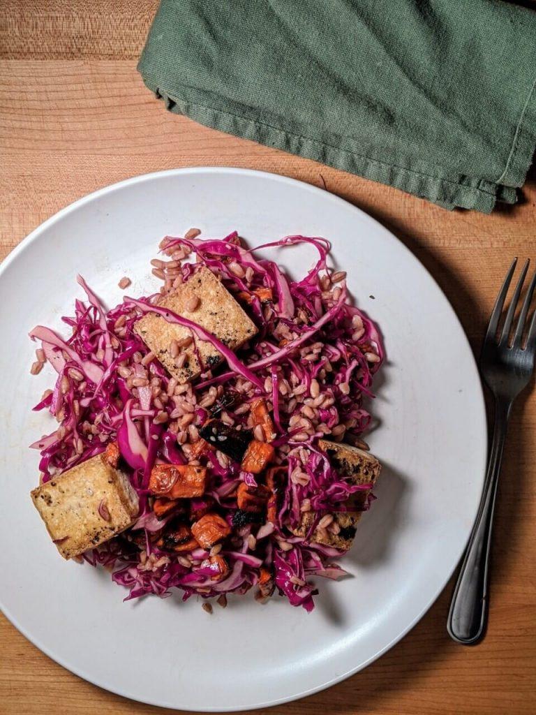 Asian Slaw Farro Salad with Tofu