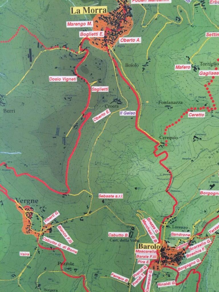 Barolo Hiking Map to La Morra
