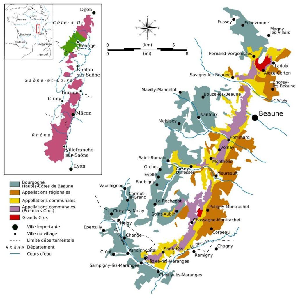 Cotes de Beaune Burgundy France Wine Map