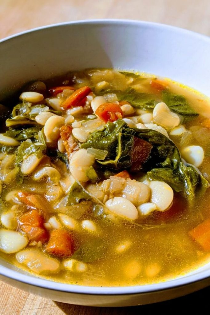 Bowl of Vegan White Bean and Green Soup