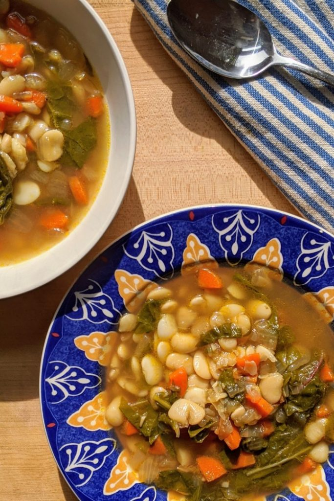 Vegan White Bean and Greens Soup Meal