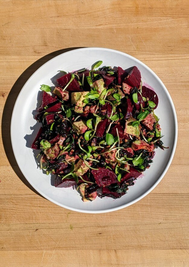 Roasted Beet and Avocado Salad Vegan Plate