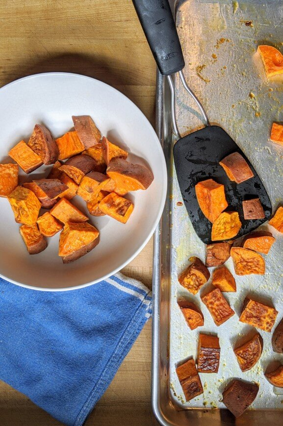 Roasted Sweet Potatoes in Bowl