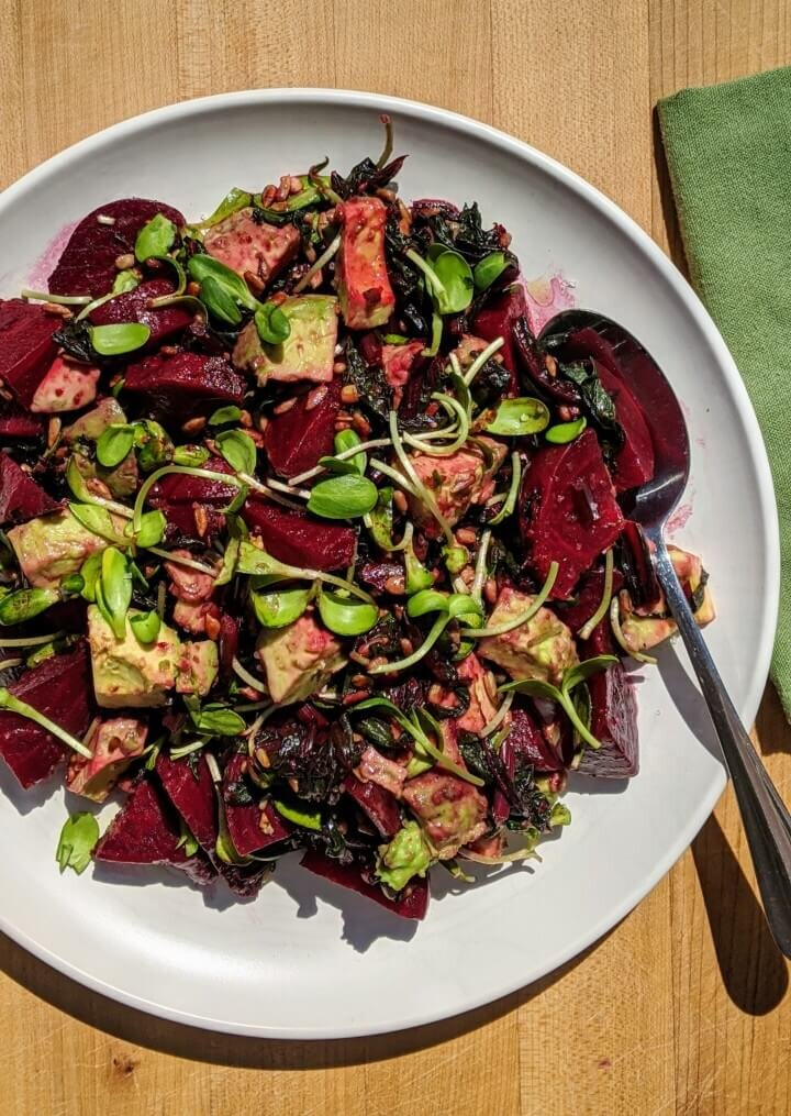 Roasted Beet and Avocado Salad