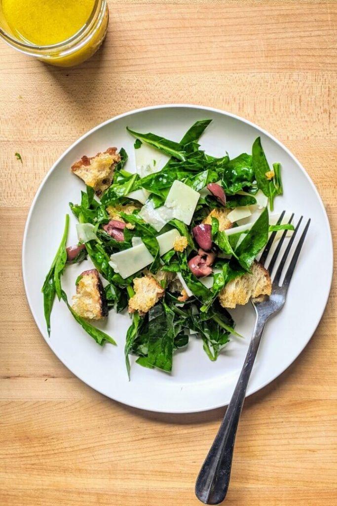 Spinach Salad Panzanella Style