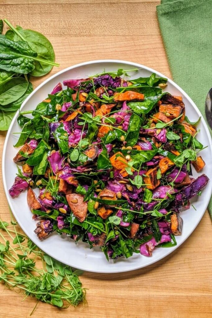 Sweet Potato Salad with Spinach and Salad
