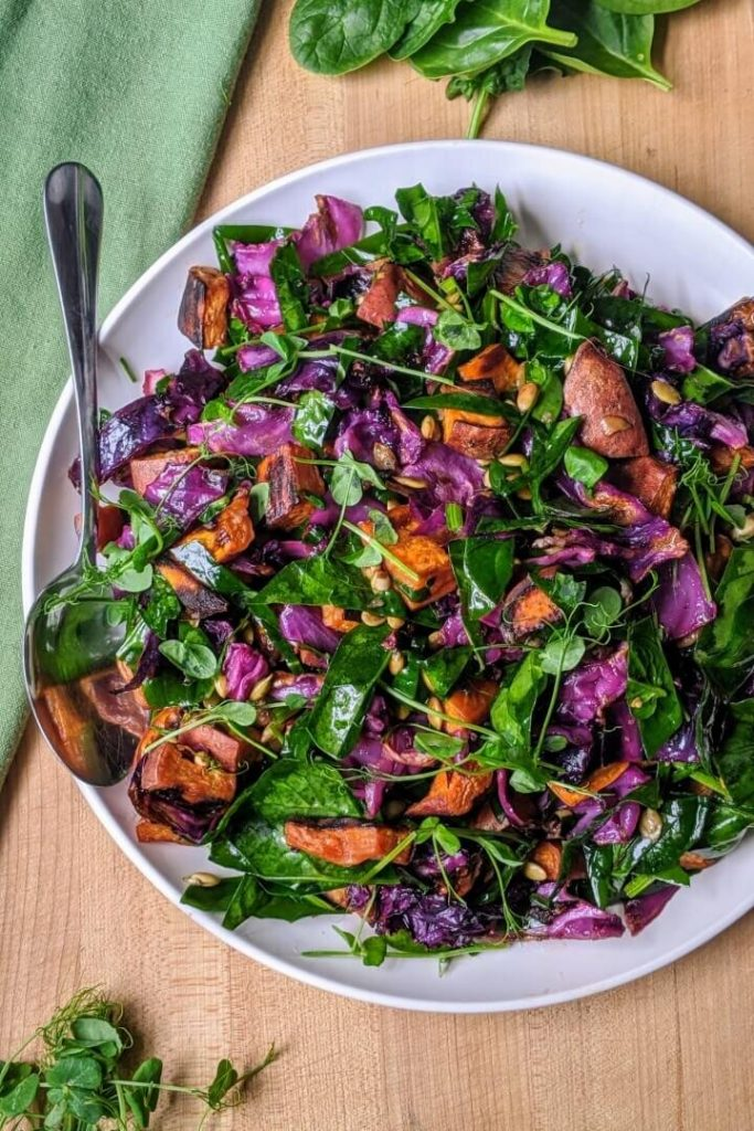 Sweet Potato Salad with Cabbage and Spinach Recipe