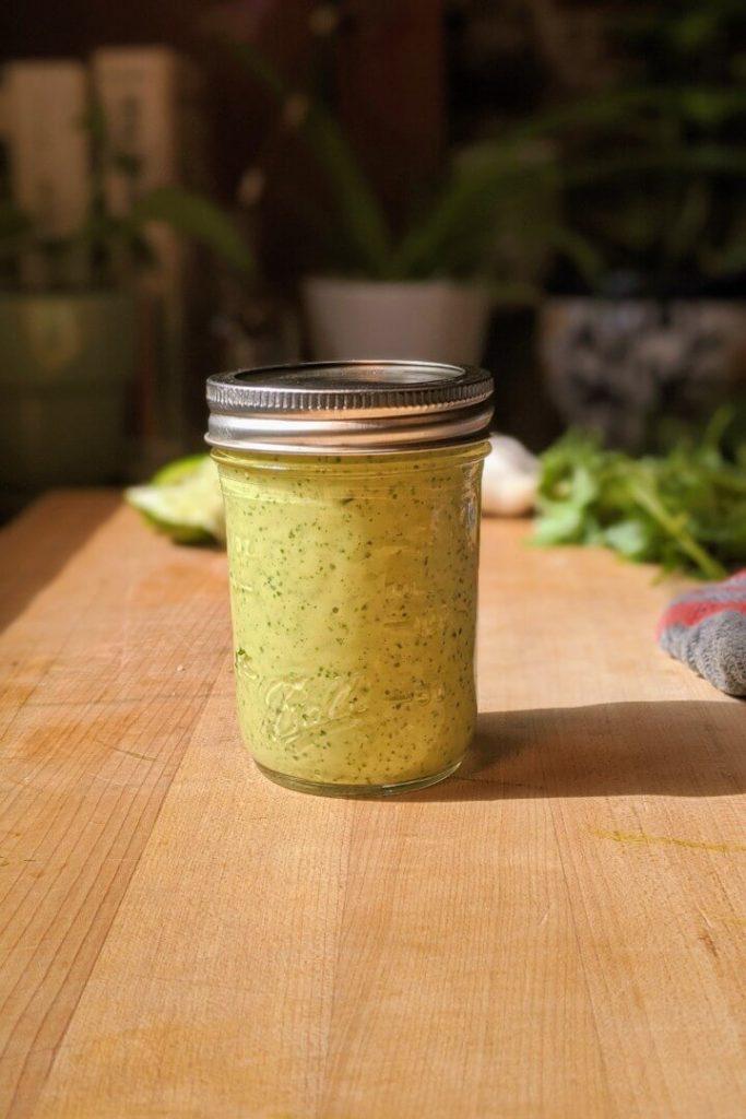 Avocado Lime Dressing in a Jar