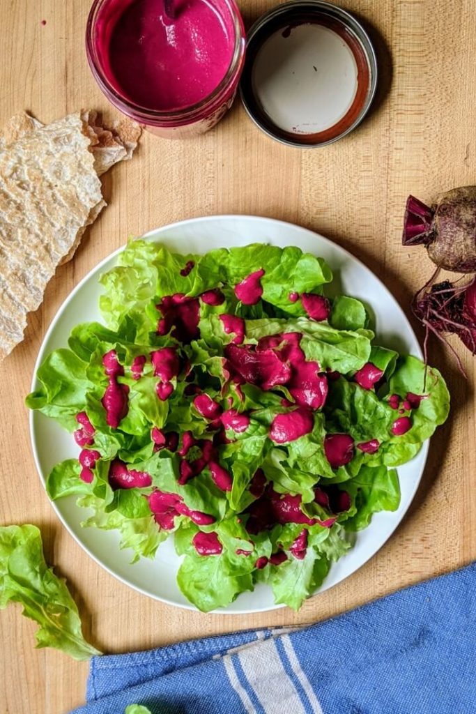 Beet Dressing on Salad
