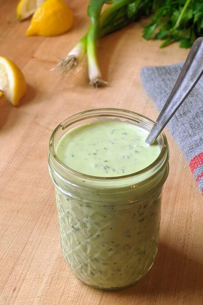 Healthy Green Goddess Dressing in a Jar