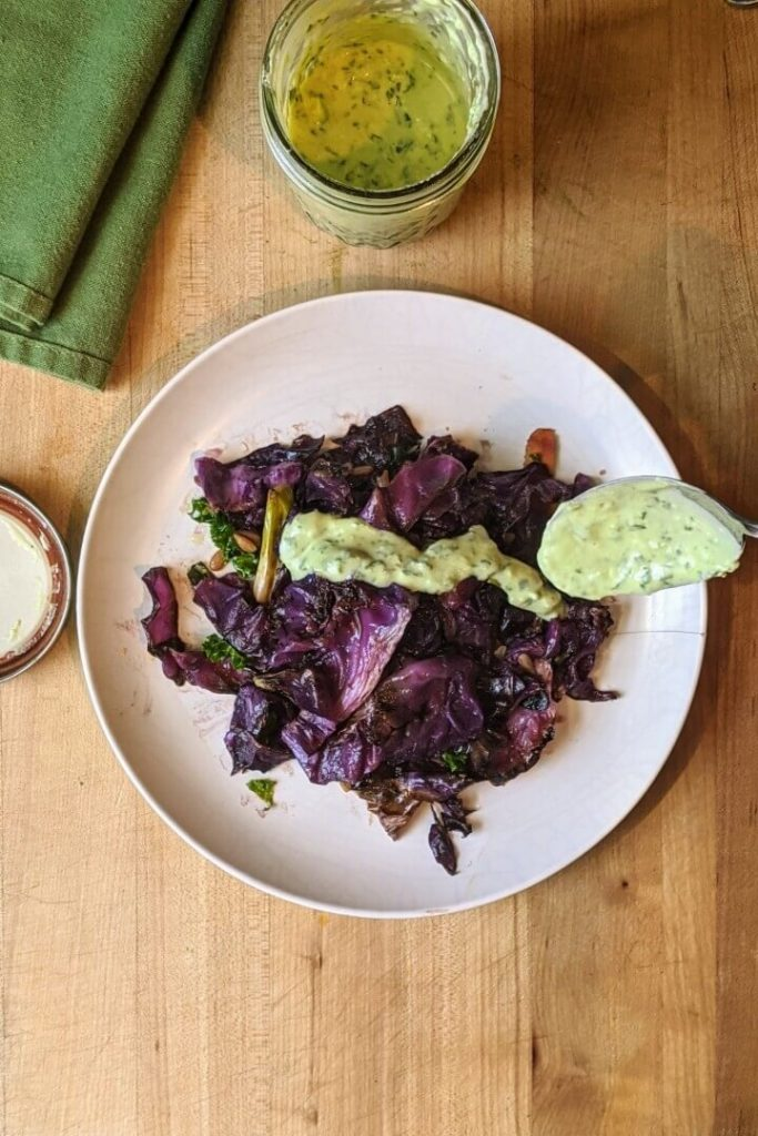 Red Cabbage and Green Goddess Dressing