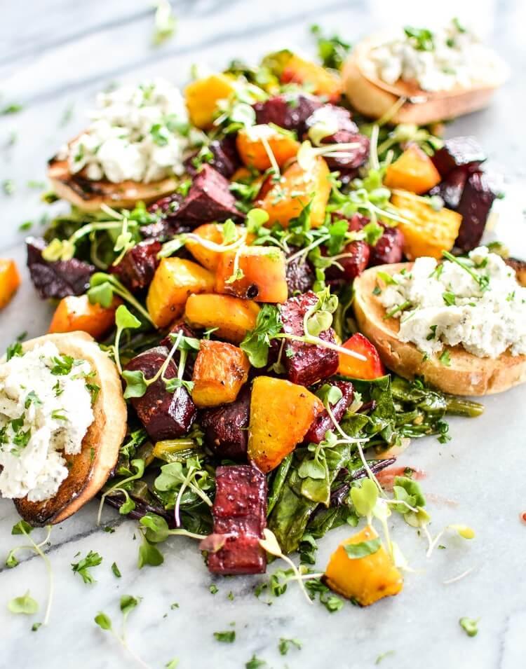 Beet Salad and Crostini