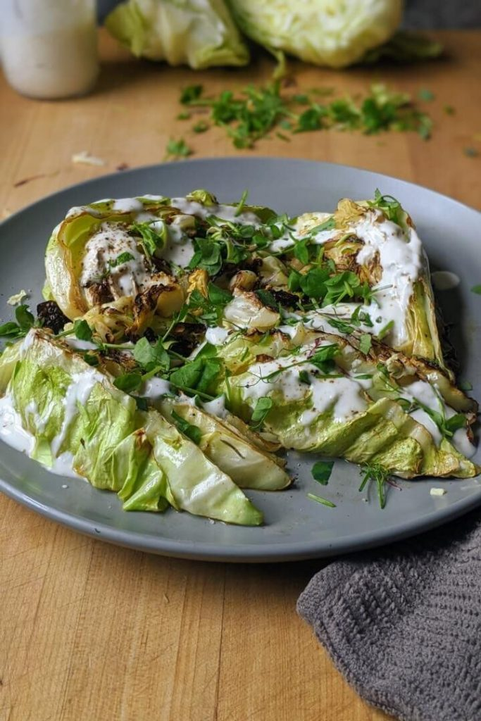 charred cabbage salad wedges