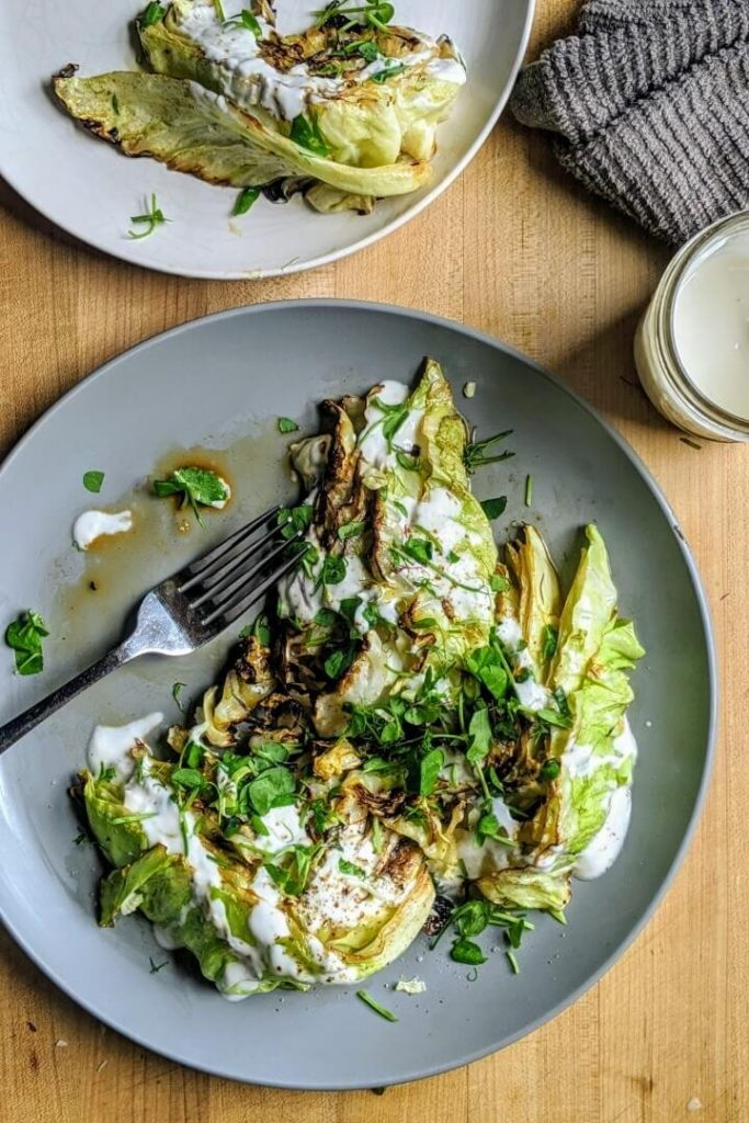 charred cabbage salad meal