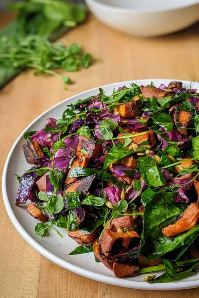 Sweet Potato Salad with Cabbage and Spinach close-up