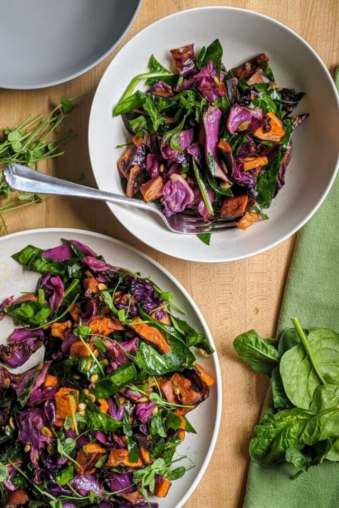 Sweet Potato Salad with Cabbage and Spinach Meal