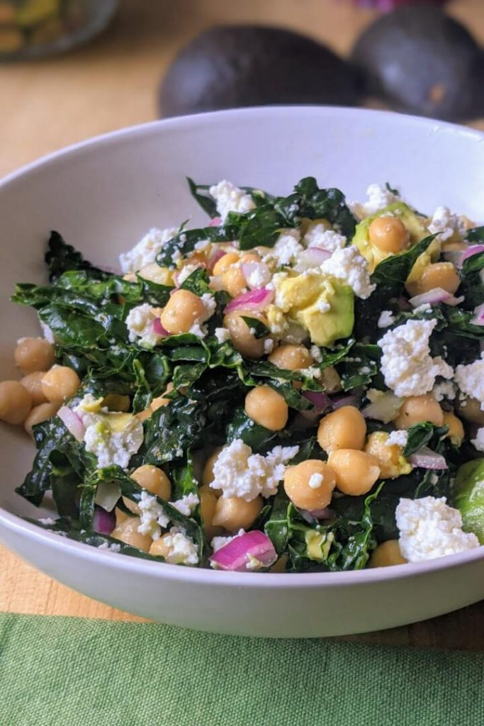Simple Chickpea and Kale Salad With Avocado Salad in a Bowl