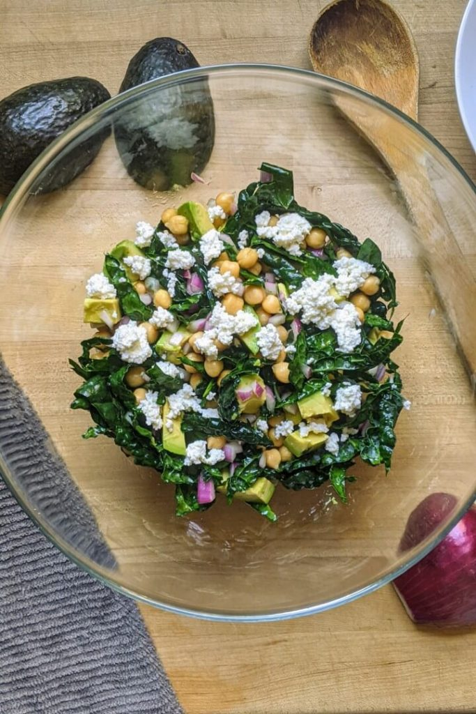 Simple Chickpea and Kale Salad With Avocado Salad