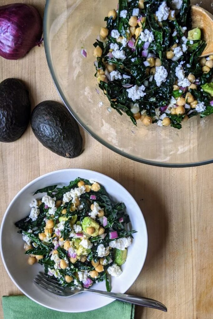 Simple Chickpea and Kale Salad With Avocado Salad Meal