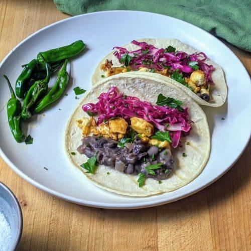 Vegan refried black bean tacos
