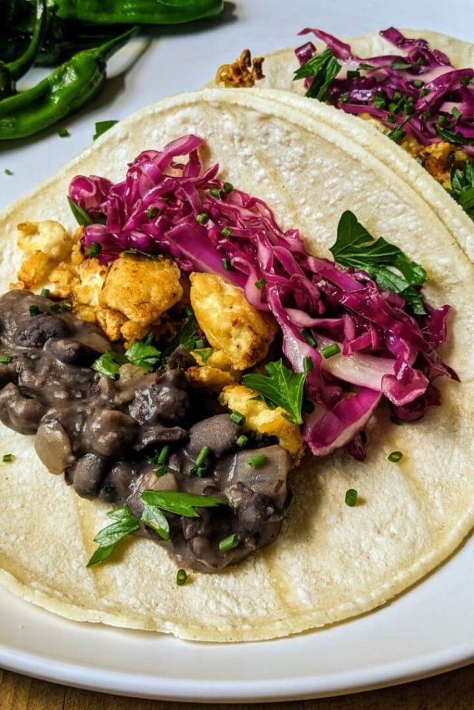 Vegan refried black bean tacos