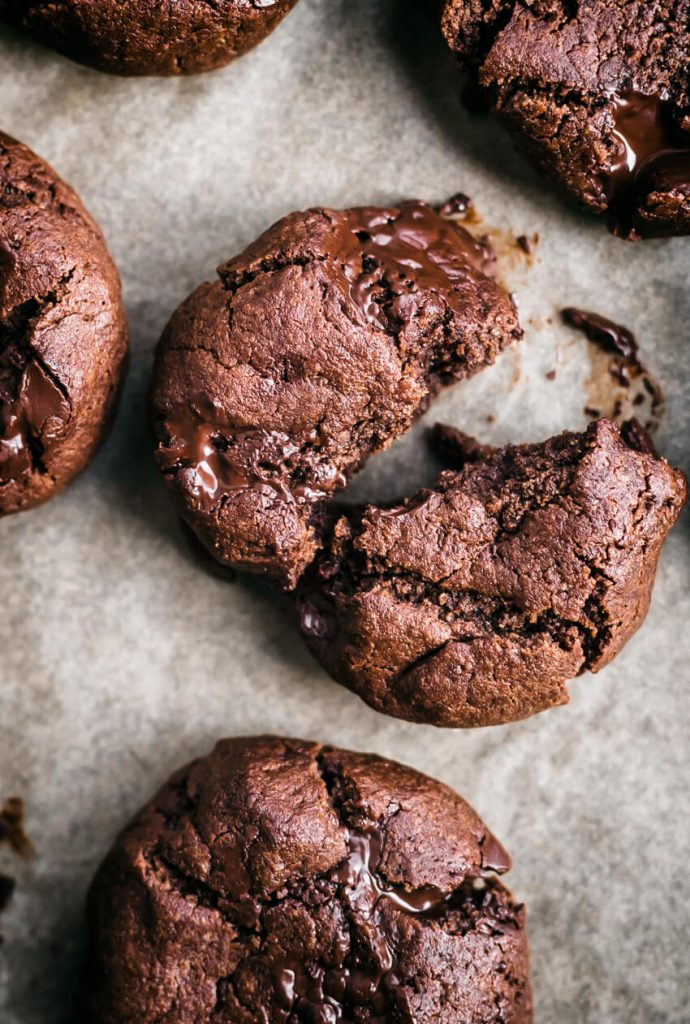 double chocolate chickpea flour cookies