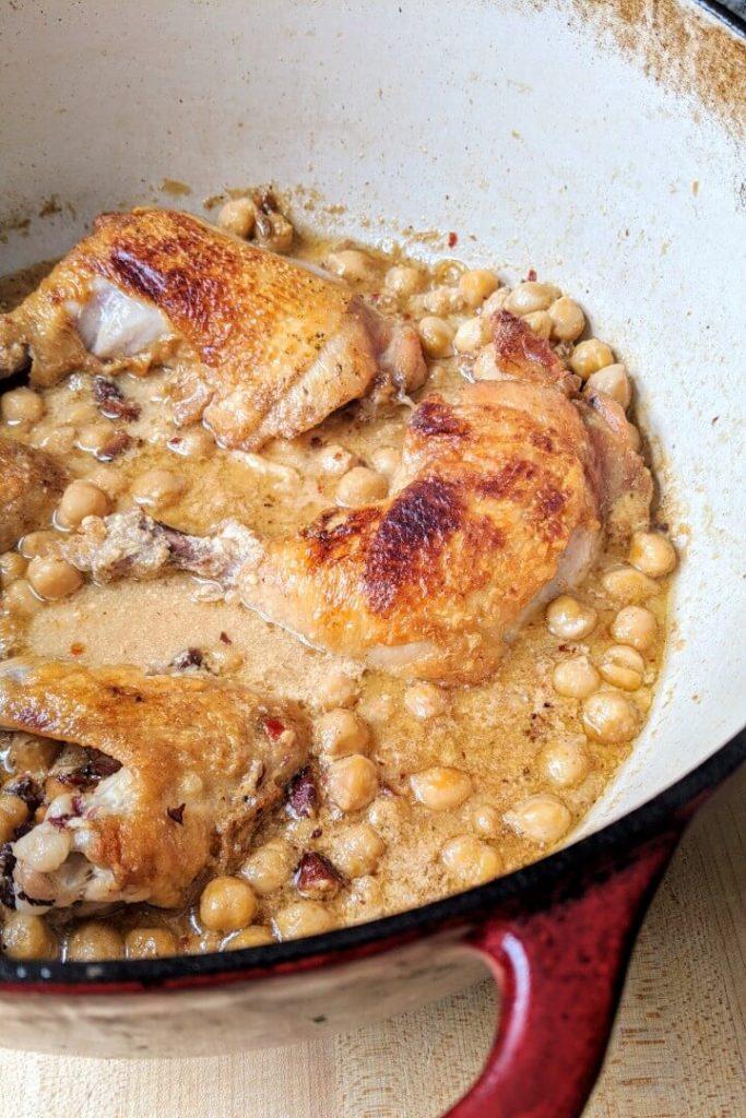 Braised chicken in a Dutch oven