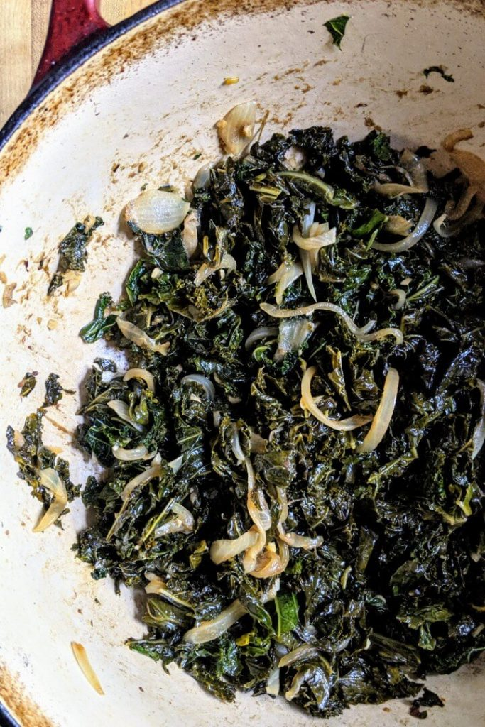 Anchovy garlic braised kale