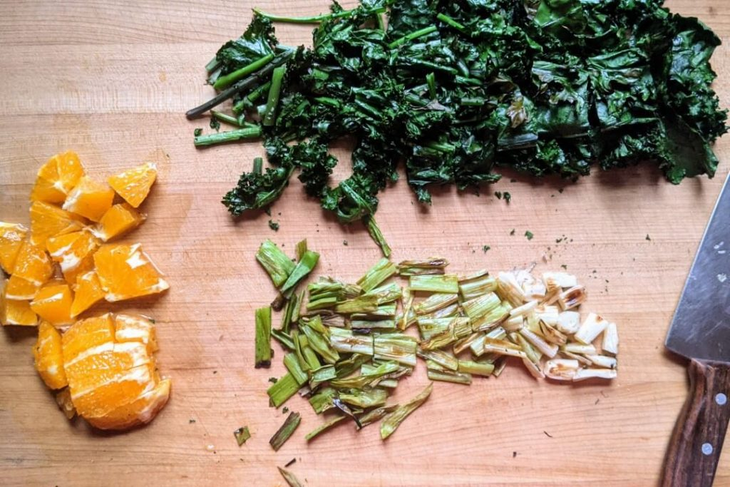 Grilled Kale Salad Ingredients Chopped