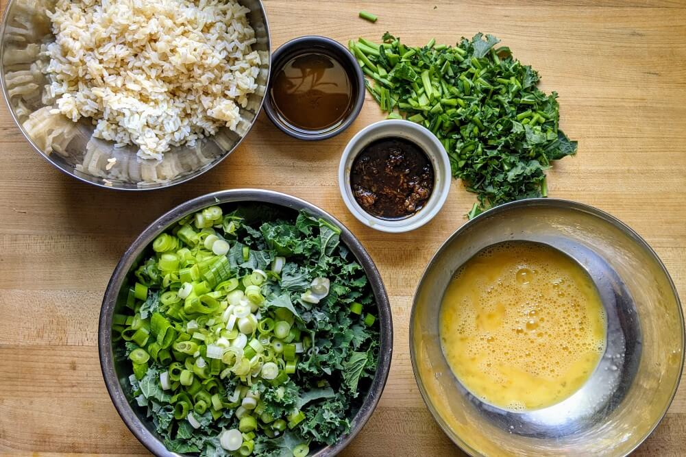 Healthy Kale Fried Rice Prepared Ingredients